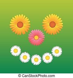 amusement, sourire heureux, fleurs, figure