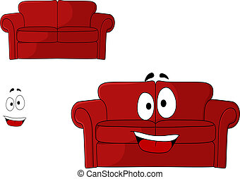 amusement, tapissé, dessin animé, rouges, divan