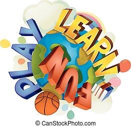 amusement, texte, jeu, la terre, apprendre