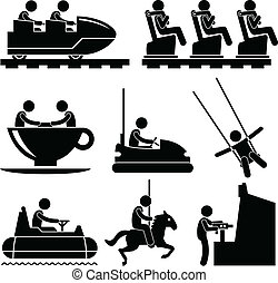 Amusement Theme Park People Playing - A set of pictograms...