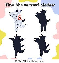 amusement, trouver, ombre, gosses, correct, page, activité, game.