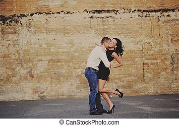 amusement, ville, couple, romantique, avoir