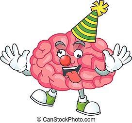 amuser, mascotte, cerveau, dessin animé, clown, style, caractère