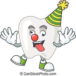amuser, mascotte, dessin animé, clown, dents, style, caractère