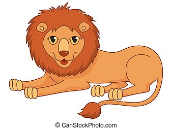 Amusing cartoon lion regally lying with fluffy mane