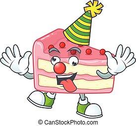 Amusing Clown strawberry slice cake cartoon character mascot style. Vector illustration
