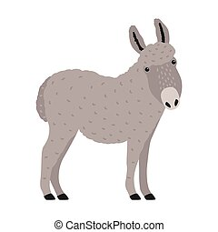 Amusing grey donkey, ass or burro isolated on white background. Portrait of adorable cartoon domestic working animal, farm livestock. Colorful and drawn vector illustration in modern trendy style.