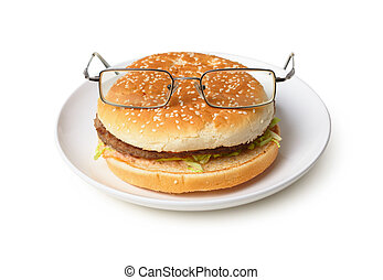 Amusing hamburger in spectacles isolated on white background
