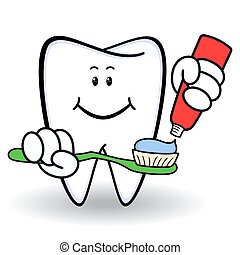 Amusing healthy cartoon tooth with smiling face and with...