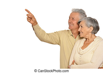 Amusing old couple - Amusing happy smiling old couple,man...