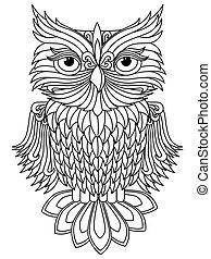 Amusing owl black outline