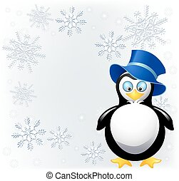 Amusing penguin with cylinder hat