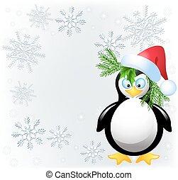 Amusing penguin with Santa Claus hat