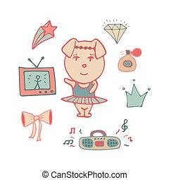 Amusing pink pig the dancer in a tutu.