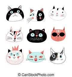 amusing portraits of cats - Graphic seamless portraits of...