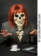Amusing skeleton with red hair - Halloween - The amusing...