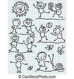 Amusing sun and kids figures in funny scenes - Amusing...