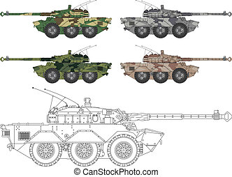 High detailed vector illustration of a modern tank - side view with four camouflage colors