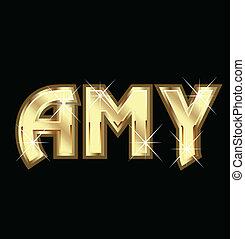 amy, menina, nome, em, ouro, vetorial, estoque