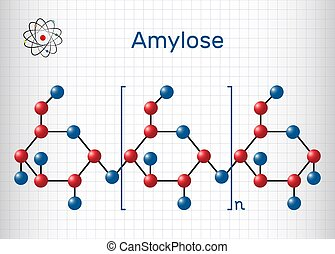 Amylose molecule. It is a polysaccharide and one of the two components of starch. Structural chemical formula and molecule model. Sheet of paper in a cage. Vector illustration