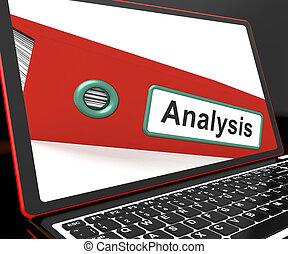 análise, arquivo, ligado, laptop, mostrando, analisado,...