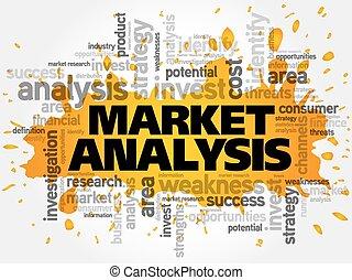 análise mercado, palavra, nuvem