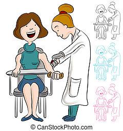 análisis de sangre, mujer