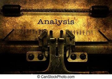 análisis, texto, en, vendimia, máquina de escribir