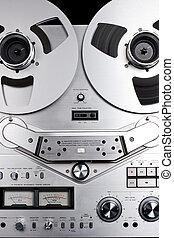 análogo, áudio, bobine bobinar, gravador