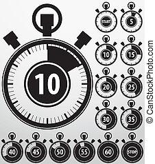 análogo, cronômetro, ícones, jogo, vetorial, illu