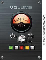 análogo, vu, indicador, control de volumen