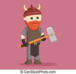 anão, guerreira, com, sledgehammer