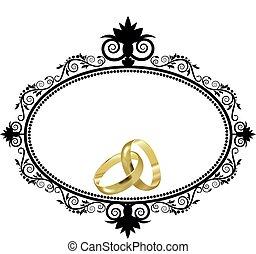anéis, borda, casório