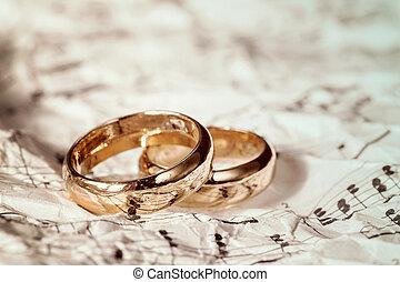 anéis, casório, antigas, música folha