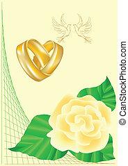 anéis, casório, pombas, rosas