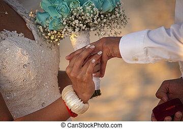anéis casamento, 2, câmbio