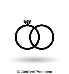 anéis casamento, desenho, vetorial, ilustração