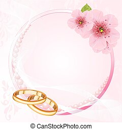 anéis casamento, e, flor cereja, de
