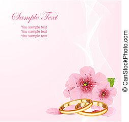 anéis casamento, e, flor cereja