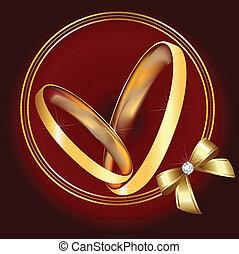 anéis casamento, em, ouro, com, fita