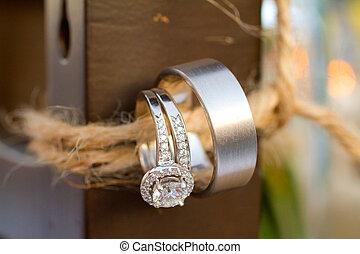 anéis casamento, em, recepção