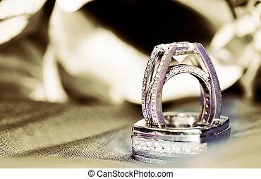 anéis casamento, em, sepia