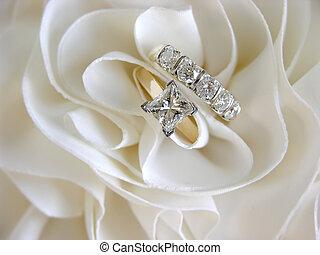 anéis casamento, foco, ligado, solitário
