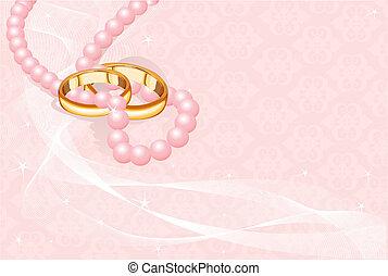anéis casamento, ligado, cor-de-rosa