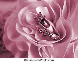 anéis casamento, macio, disposição, cor-de-rosa