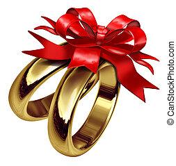 anéis casamento, vermelho, amarrada, arco