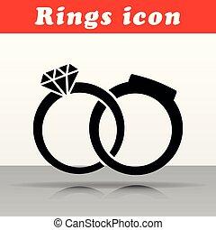 anéis casamento, vetorial, ícone, desenho