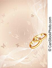 anéis, desenho, casório