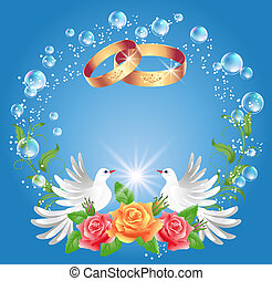 anéis, dois, pombas, casório