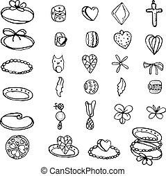 anéis, isolado, jogo, contas, woman., branca, stylized, charmes, objetos, jovem